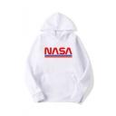 Hot Trendy NASA Letter Stripe Pattern Long Sleeve Unisex Stylish Pullover Hoodie