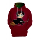 Harry Potter Cartoon Character 3D Printed Long Sleeve Loose Fit Red Pullover Hoodie