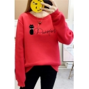 Cute Cat Letter Printed Round Neck Long Sleeve Pullover Sweatshirt