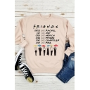 FRIENDS Letter Pattern Round Neck Long Sleeve Loose Apricot Pullover Sweatshirt