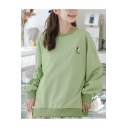 Girl's Letter Avocado Embroidered Round Neck Long Sleeve Loose Pullover Sweatshirt