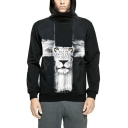 Couple Cool Black Lion Head Printed Zippered Side Long Sleeve Hoodie