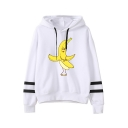 Stylish Banana Printed Stripe Long Sleeve Loose Casual White Hoodie