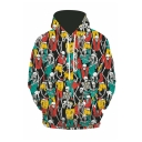 New Arrival Creative Skull All-Over Printed Long Sleeve Green Casual Loose Hoodie