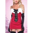 Womens Halloween Scoop Neck Sleeveless Tie Front Bow Panelled Christmas Theme Sheath Cami Dress