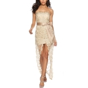 Womens Hot Fashion Off the Shoulder Sleeveless Floral Embroidery Lace Print Tie Split Front Plain Asymmetrical Bodycon Maxi Dress