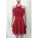 Womens Trendy Plain Halter Neck Sleeveless Zipper Back Mini A-Line Dress