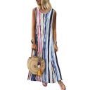 Womens Summer Round Neck Sleeveless Dyed Striped Swing Maxi Dress