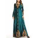 Moslem New Stylish Womens Round Neck Long Sleeve Striped Dark Green Swing Maxi Dress