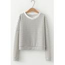 Fashion Grey Stripe Printed Round Neck Long Sleeve Loose Leisure T-Shirt