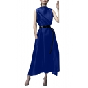 Womens Summer Round Neck Sleeveless Belt Pockets Plain Weaving A-Line Maxi Dress