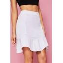 White Solid Color Design Ruffle Hem Fashionable Mini A-Line Skirt