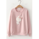 Cute Rabbit Embroidered Round Neck Long Sleeve Cotton Sweatshirt