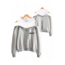 Popular American Singer Letter GOT7 Long Sleeve Cold Shoulder Relaxed Hoodie