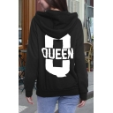 Couple THE KING/ HIS QUEEN Letter Printed in Back Pullover Hoodie