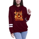 Halloween Color Block Trick Or Treat Letter Pumpkin Printed Long Sleeve Hoodie