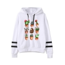 New Stylish Drawstring Hood Plant Stripe Print Long Sleeve Hoodie