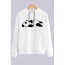 Lovely Cartoon Panda Printed Long Sleeve Fitted Hoodie