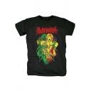 Mens Black Crazy Short Sleeve Multicolor Cartoon Printed Graphic T-Shirt