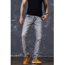 Men's New Stylish Light Grey Vintage Washed Casual Slim Jeans