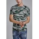 Cool Personalized Mens Short Sleeve Round Neck Slim Fitted Camo T-Shirt