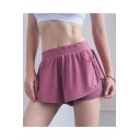New Trendy Simple Plain Elastic Waist Fake Two Piece Quick Drying Mesh Sport Shorts