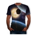 Mens Round Neck Short Sleeve 3D Galaxy Printed Cool Unique Pullover T Shirt
