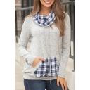 Womens Hot Popular Pile Heap Collar Long Sleeve Check Print Patchwork Pullover Sweatshirt