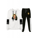 Hot Trendy Cartoon Figure Printed Casual Hoodie with Sport Sweatpants Two-Piece Set