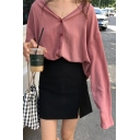 Chic Solid Color Long Sleeve V Neck Button Front Casual Loose Lady Office Shirt