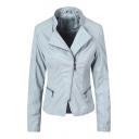 Lady Fashion Plain Lapel Collar Long Sleeve Zip Front PU Motorcycle Jacket
