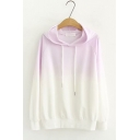 Womens Hot Stylish Long Sleeves Patchwork Straight Slim Fitted Gradient Hoodie