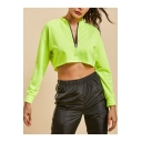 Long Sleeve Round Neck Zip Front Fluorescent Green Cropped Sweatshirt