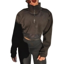 Black Long Sleeve Stand Collar Zip Front Mesh Patch Cool Unique Cropped Sweatshirt