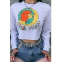 Unique White Long Sleeve Round Neck Letter Cartoon Girl and Moon Star Printed Cropped Sweatshirt