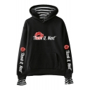 Stylish Womens Long Sleeve THANK U NEXT Letter Red Lip Printed Fake Two Piece Pullover Hoodie
