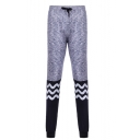 Men's New Fashion Colorblock Wave Printed Grey Drawstring Waist Leggings Sports Pencil Pants