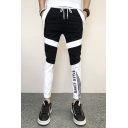 Guys Trendy Colorblock Letter Printed Drawstring Waist Casual Slim Sports Pencil Pants