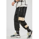 Men's New Fashion Colorblock Letter Printed Loose Fit Elastic Cuffs Casual Sports Cargo Pants with Side Pockets