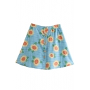 Summer New Arrival Blue High Waist Check Sunflower Printed Single Breasted Holiday Mini A-Line Skirt