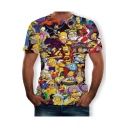 Summer Hot Sale Short Sleeve Round Neck Cartoon Figure Printed Funny T Shirt