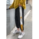 Guys Popular Fashion Colorblock Patched Side Drawstring Cuffs Trendy Track Pants Casual Carrot Pants