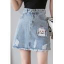 Summer Blue High Waist Distress Letter Star Printed Raw Hem Mini A-Line Denim Skirt