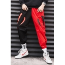 Men's Cool Fashion Colorblock Printed Loose Fit Elastic Cuffs Hip Pop Track Pants