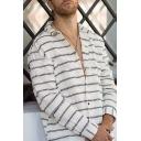 White Long Sleeve Lapel Collar Button Down Striped Printed Loose Cotton Linen Shirt