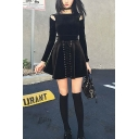 Girls New Fashion High Waist Lace-Up Front Plain Mini Black A-Line Skirt