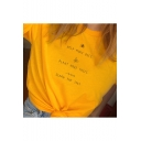Help More Bees Plant More Trees Save The Seas Letter Printed Short Sleeve Round Neck Knotted Front Yellow Tee