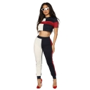 Summer Womens Hot Popular Colorblock Short Sleeve Crop Tee with Slim Sweatpants Two-Piece Co-ords