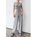 Womens Unique Plain Drawstring Ruched Crop Tee with Wide-Leg Pants Sport Loose Two-Piece Set