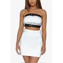 Womens Cool Reflective Light Silver Buckled Bandeau Top with Mini Skirt Two-Piece Set